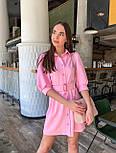 Коротке плаття - сорочка з рукавами - ліхтариками до ліктя і гудзиками по всій довжині 36031526, фото 4