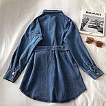 Джинсовое платье - рубашка с поясом и длинным рукавом 68031532, фото 2