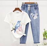 Женский костюм  двойка - джинсы и футболка с рисунком, джинсы на резинке 79101051, фото 2