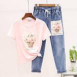 Жіночий костюм з футболкою і джинсами з малюнком 79101053, фото 2