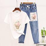 Жіночий костюм з футболкою і джинсами з малюнком 79101053, фото 5