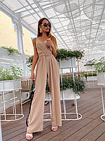 Женский летний комбинезон с брюками клеш и верхом на запах с бретелями 36101054, фото 1