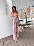Жіночий літній комбінезон з брюками-кльош і верхи на запах з бретелями 36101054, фото 2