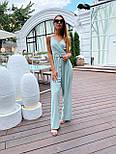 Жіночий літній комбінезон з брюками-кльош і верхи на запах з бретелями 36101054, фото 3