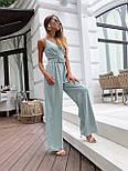 Жіночий літній комбінезон з брюками-кльош і верхи на запах з бретелями 36101054, фото 4