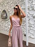 Жіночий літній комбінезон з брюками-кльош і верхи на запах з бретелями 36101054, фото 5