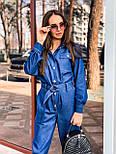 Жіночий джинсовий комбінезон з довгим рукавом і рубашечным верхи 36101055, фото 4