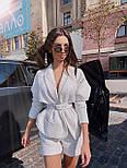 Женский твидовый  костюм с шортами и жакетом под пояс 71101063, фото 2