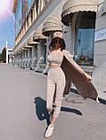 Замшевый брючный костюм тройка с лосинами, топом и накидкой 71101064, фото 4