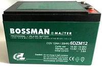 Аккумулятор тяговый 12V 12 Ah Bossman 6-DZM-12 клеммы под пайку, 10x10x15см