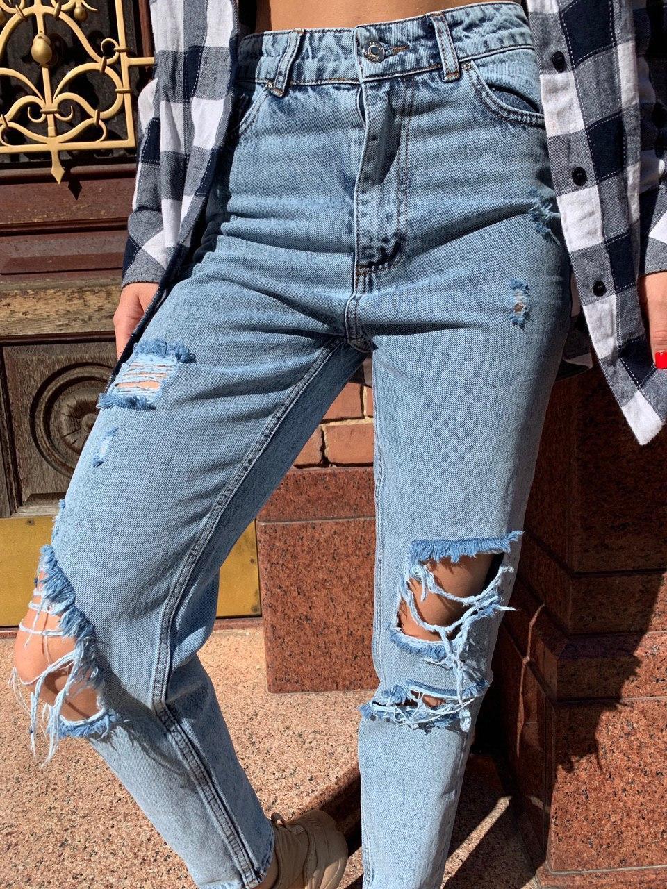 Женские высокие джинсы с разрезами и потертостями 6812502