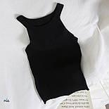 Женская майка из трикотажа рубчик в черном и белом цвете 7717361, фото 3