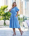 Полосатое коттоновое платье А-силуэта в больших размерах с расклешенным рукавом 8315749, фото 3
