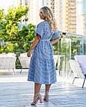 Полосатое коттоновое платье А-силуэта в больших размерах с расклешенным рукавом 8315749, фото 6
