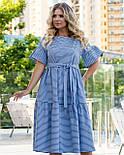 Полосатое коттоновое платье А-силуэта в больших размерах с расклешенным рукавом 8315749, фото 8