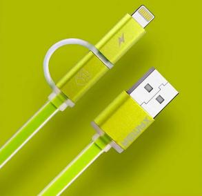 USB кабель Remax Aurora RC-020t 2in1 Lightning-microUSB Зеленый, фото 2
