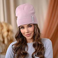 "В'язана шапка ""Кріо"" колір-пудра"