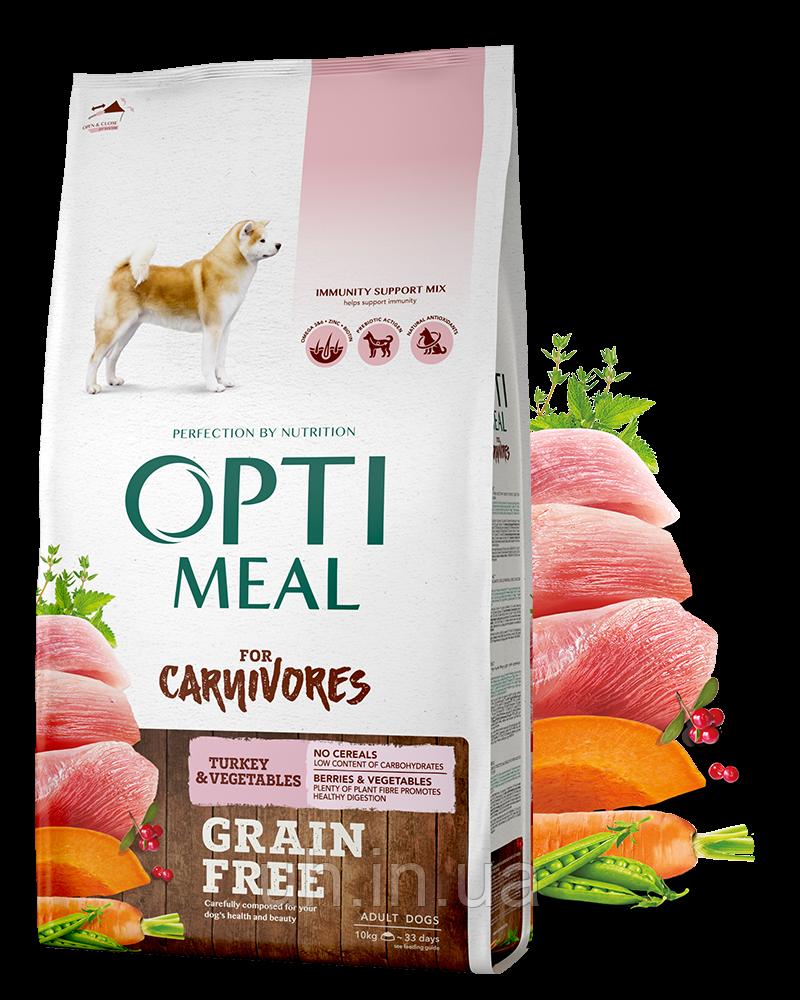Optimeal беззерновой сухой корм для собак всех пород с уткой и овощами 10КГ