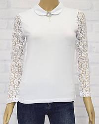 Блузка школьная с длинным рукавом для девочки, с кружевом, ADK  (размер 152)