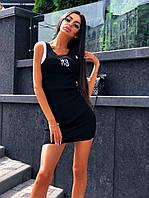 Короткое черное платье из трикотажа рубчик на лето 68PL1529, фото 1