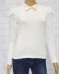 Блузка школьная с длинным рукавом для девочки, с кружевом, ADK  (размер 164)