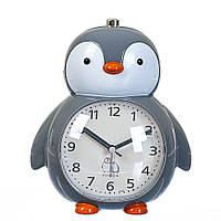 """Детские часы - будильник. """"Пингвин"""" 18х15х11 см серый цвет, фото 1"""