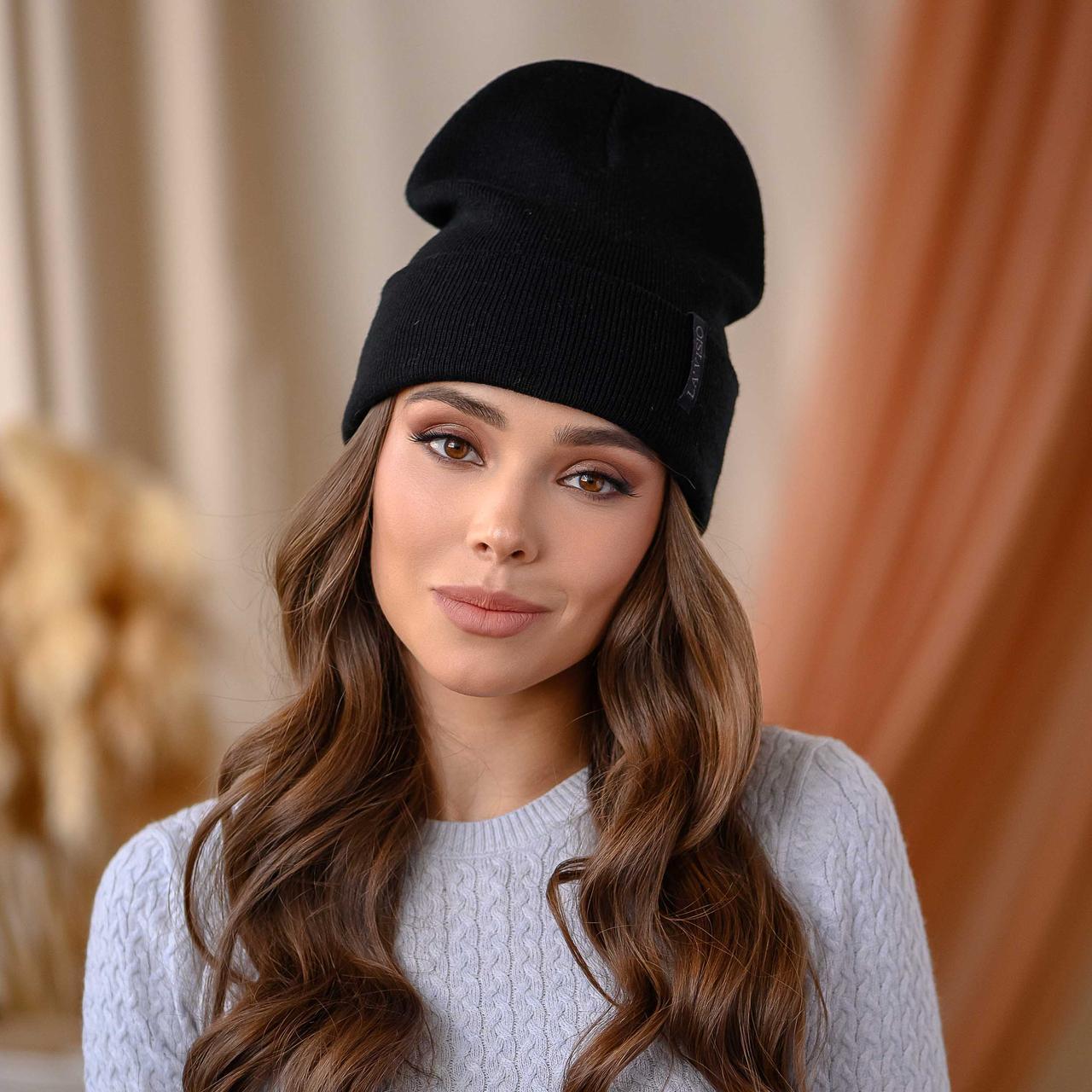 """В'язана шапка """"Кріо"""" колір-чорний"""
