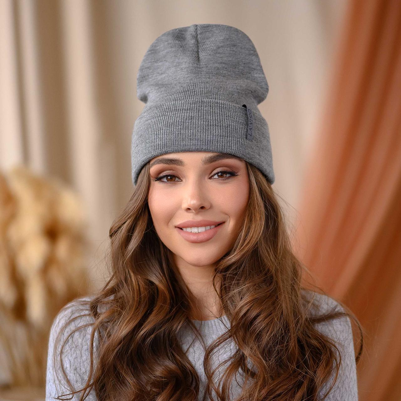 """В'язана шапка """"Кріо"""" колір-сірий"""