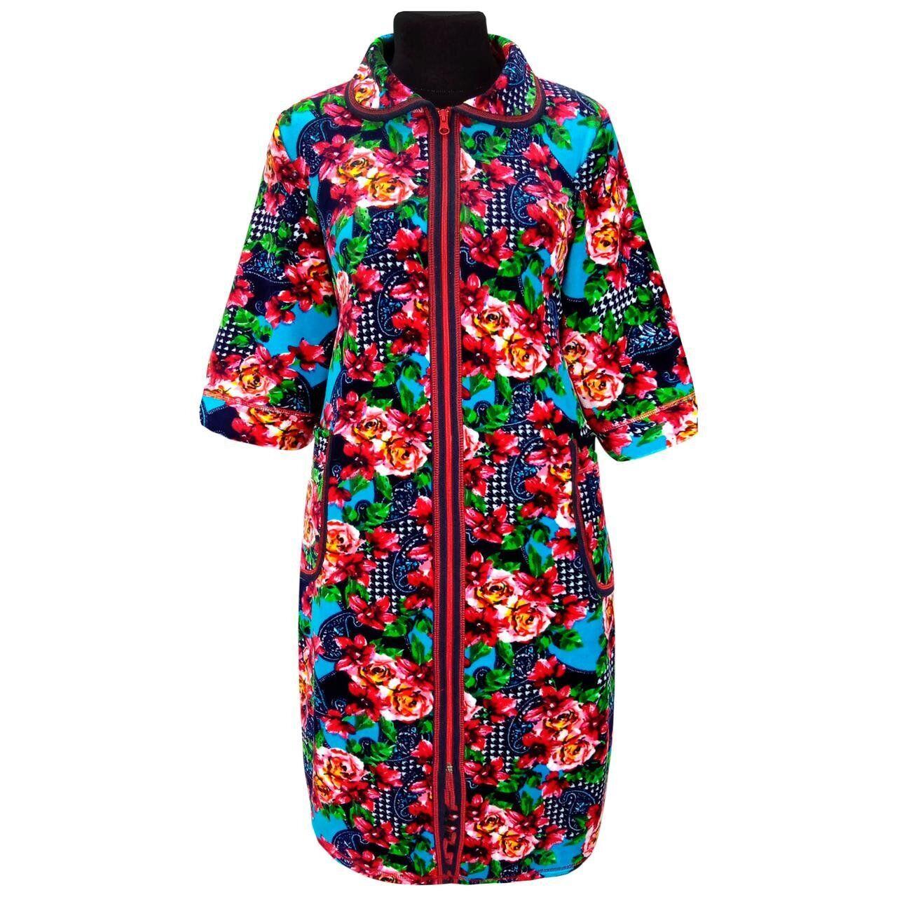 Женский велюровый халат с рукавом 3\4 с 48 по 74 размер