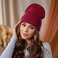 "В'язана шапка ""Кріо"" колір-марсала"