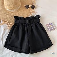 Женские летние коттоновые шорты с поясом 77SY23, фото 1
