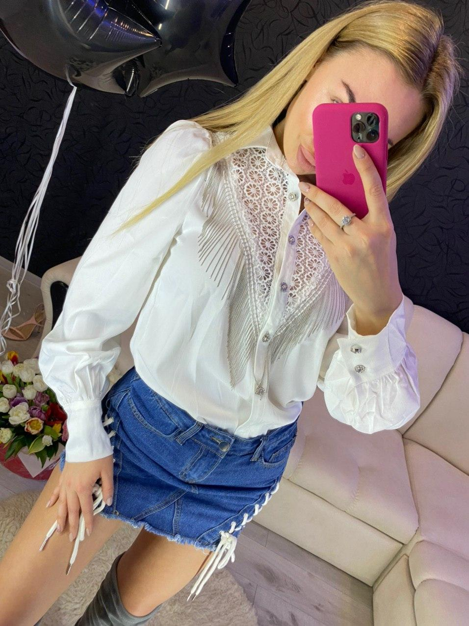 Женская белая и черная рубашка с бахрамой и рукавами фонариками 79ru377