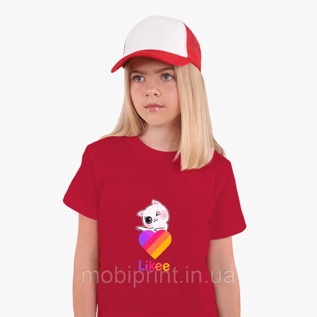 Детская футболка для девочек Лайки Котик (Likee Cat) (25186-1595) Красный