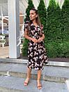 Летнее платье на запах в цветочный принт с короткими рукавами и длиной миди 60py1524, фото 2