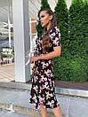 Летнее платье на запах в цветочный принт с короткими рукавами и длиной миди 60py1524, фото 3