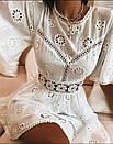 Белое летнее платье из прошвы с расклешенной юбкой и вырезом на спине 79py1525, фото 2