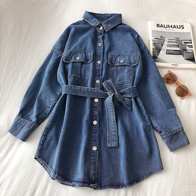 Джинсовое платье - рубашка с поясом и длинным рукавом 68py1532