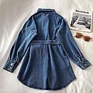 Джинсовое платье - рубашка с поясом и длинным рукавом 68py1532, фото 2