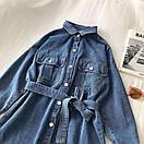 Джинсовое платье - рубашка с поясом и длинным рукавом 68py1532, фото 3