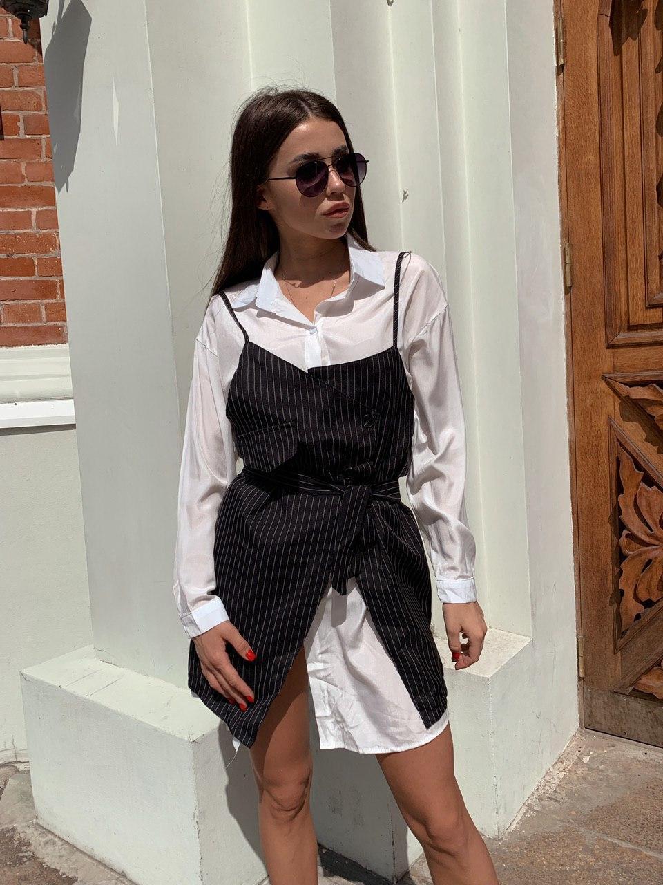 Платье - двойка с белым платьем - рубашкой и черным сарафаном 68py1533