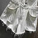 Джинсовый комбинезон шортами на лямках с пуговицами спереди 68ks1060, фото 3