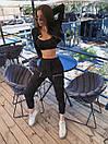 Женский брючный костюм с брюками карго с накладными карманами и укороченным бомбером на молнии 71ks1065, фото 3