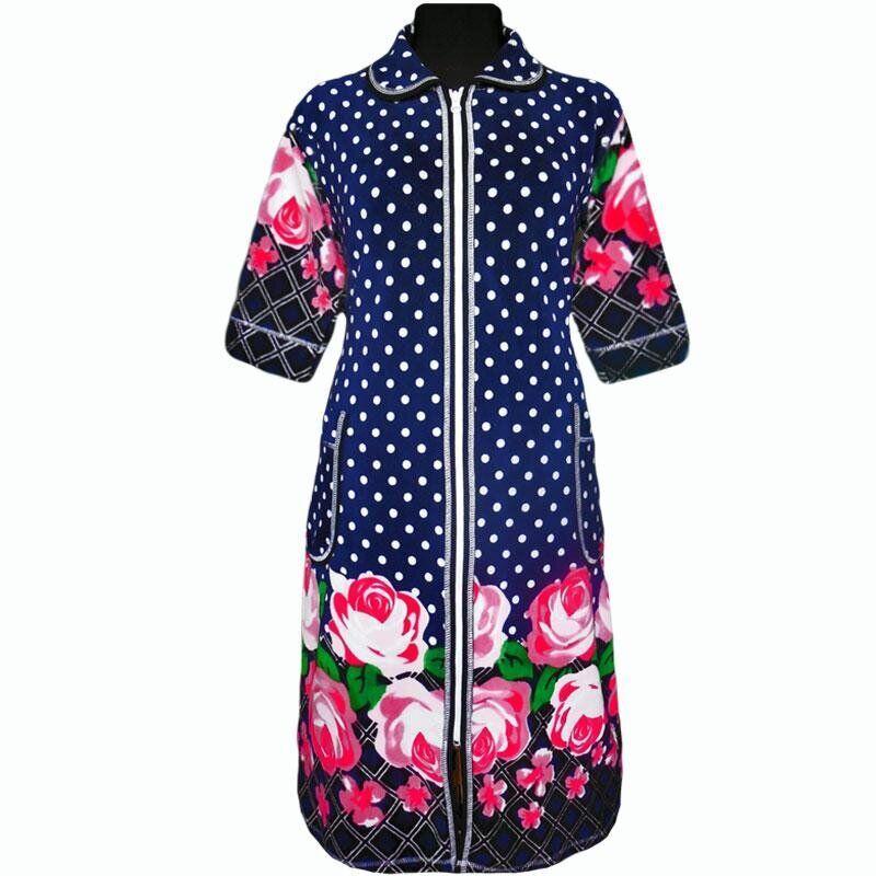 Велюровый женский халат с рукавом 3\4 с 48 по 74 размер