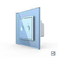 Сенсорний прохідний маршовий перехресний вимикач Livolo Sense 2 каналу блакитний (722000419), фото 1