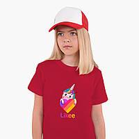 Детская футболка для девочек Единорог Лайки (Unicorn Likee) (25186-1597) Красный, фото 1