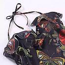 Черный сдельный купальник с принтом и рюшами на груди 61kl557, фото 3