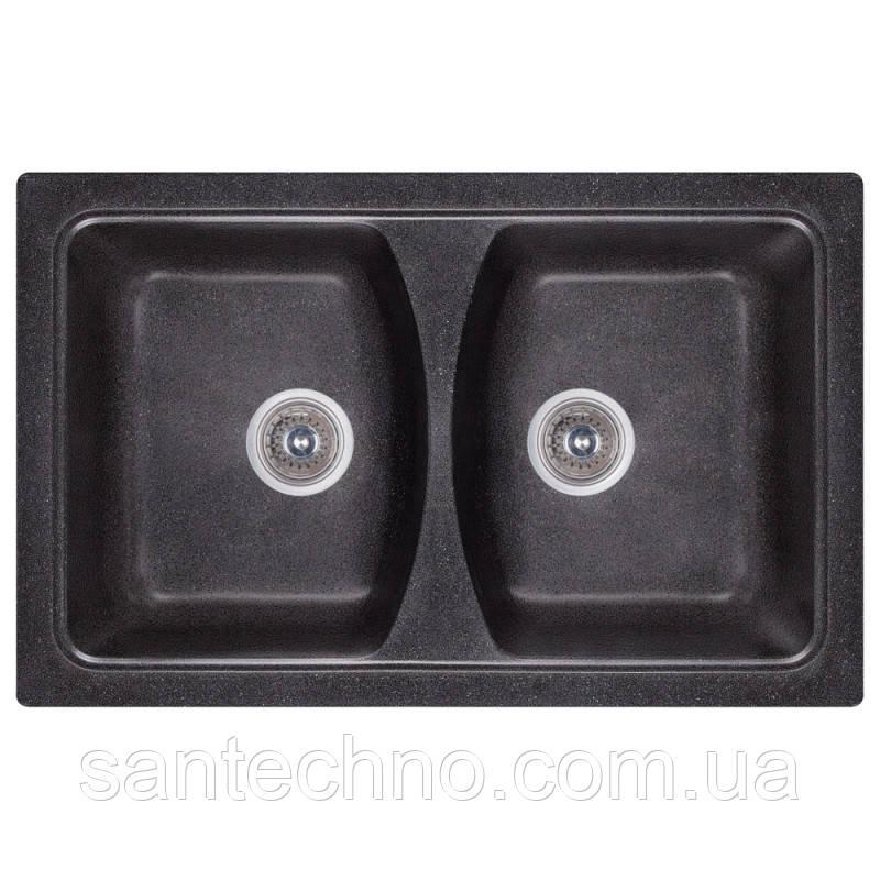 Кухонная двойная гранитная мойка Cosh 7950 kolor 420 Черный