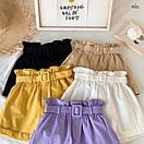 Женские летние коттоновые шорты с поясом 77SY23, фото 6