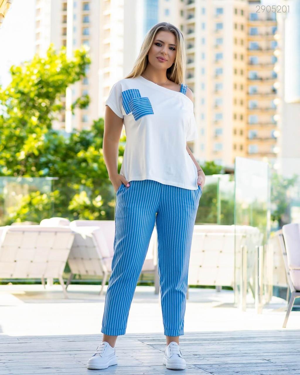 Женский летний брючный костюм в больших размерах с футболкой с открытым плечом и брюками - каррот 83ba740