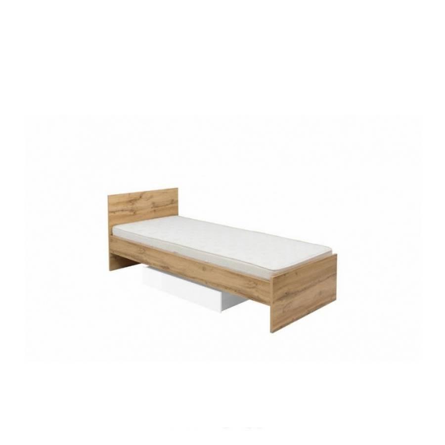 Кровать односпальная BRW Злата LOZ/90+ящик (каркас) 90х200 дуб тахо/белый без ламелей
